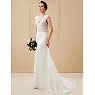 Linha A Decote V Cauda Corte Chiffon Cordão com cordão Vestidos de noiva personalizados com Renda de LAN TING BRIDE®