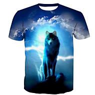 Χαμηλού Κόστους -Ανδρικά T-shirt Βασικό - Βαμβάκι Ζώο Στρογγυλή Λαιμόκοψη Στάμπα Λύκος / Κοντομάνικο