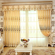 Sheer Curtains Shades Living Room Solid Colored Floral Cotton / Polyester  Embroidery