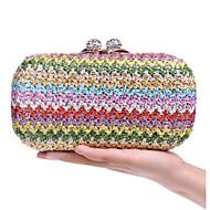 baratos Clutches & Bolsas de Noite-Mulheres Bolsas Palha Bolsa de Festa Botões Arco-íris