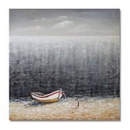 billiga Oljemålningar-styledecor® modern handmålade abstrakt en liten båtoljemålning på duk för väggkonst redo att hänga konst