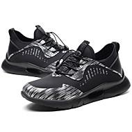 baratos Sapatos Masculinos-Homens Tule / Couro Ecológico Verão / Outono Conforto Tênis Corrida / Ciclismo / Caminhada Estampa Colorida Preto / Cinzento Escuro