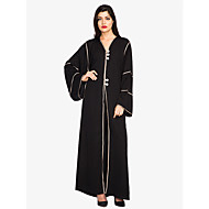 Women's Flare Sleeve Plus Size Party / Daily Street chic / Sophisticated Maxi Loose Shift / Swing / Abaya Dress - Solid Colored Lace up High Waist V Neck Spring Black XL XXL XXXL
