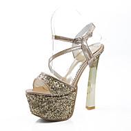 baratos Sapatos Femininos-Mulheres Sapatos Paetês Verão Conforto Sandálias Salto Robusto Peep Toe Presilha Dourado / Prata / Vermelho / Festas & Noite