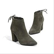 baratos Sapatos Femininos-Mulheres Sapatos Cashmere Outono & inverno Coturnos Botas Salto Robusto Dedo Apontado Botas Curtas / Ankle Laço Amarelo / Verde Escuro