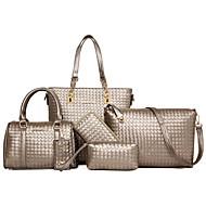 お買い得  バッグセット-女性用 バッグ PU バッグセット 6個の財布セット ジッパー ブラック / グレー / フクシャ