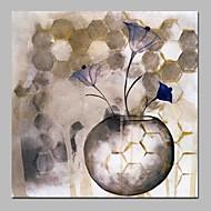 billiga Oljemålningar-Hang målad oljemålning HANDMÅLAD - Abstrakt Blommig / Botanisk Traditionell Duk