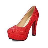 baratos Sapatos Femininos-Mulheres Sapatos Flocagem Primavera Verão Plataforma Básica Saltos Salto Robusto Ponta Redonda Dourado / Branco / Vermelho / Casamento