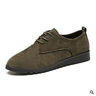 baratos Sapatos Femininos-Mulheres Sapatos Pele Nobuck Outono / Primavera Verão Conforto Oxfords Sem Salto Preto / Marron / Verde