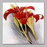 billiga Abstrakta målningar-Hang målad oljemålning HANDMÅLAD - Abstrakt Blommig / Botanisk Samtida Duk