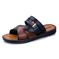 baratos Sapatos Masculinos-Homens Couro Ecológico Verão Conforto Sandálias Preto / Marron