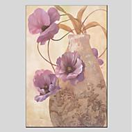 billiga Stilleben-Hang målad oljemålning HANDMÅLAD - Stilleben / Blommig / Botanisk Moderna Duk