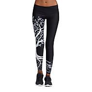 Dam Tights för jogging Vit Svart sporter Geometrisk Cykling Tights Leggings Underdelar Yoga Fitness Gym träning Sportkläder Torkar snabbt Mateial som andas Hög Elasisitet