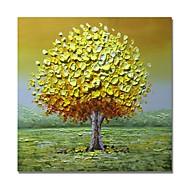 Hang-Painted Oliemaleri Hånd malede - Abstrakt Blomstret / Botanisk Moderne Omfatter indre ramme / Stretched Canvas