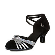 baratos Sapatilhas de Dança-Mulheres Sapatos de Dança Moderna / Dança de Salão Camurça Salto Salto Personalizado Personalizável Sapatos de Dança Preto e Sliver / Black and Gold / Prateado / Couro
