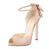 baratos Sapatos Femininos-Mulheres Sapatos Courino Primavera Verão Plataforma Básica / Tira no Tornozelo Sandálias Salto Agulha Peep Toe Laço Preto / Amêndoa