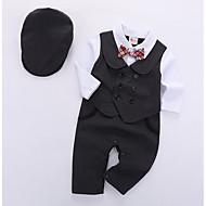 Baby Gutt Grunnleggende Daglig Ensfarget Langermet Normal Polyester Tøysett Svart
