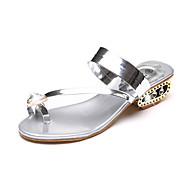 cheap Women's Sandals-Women's Shoes PU Summer Toe Ring Sandals Chunky Heel Open Toe Rhinestone for Party & Evening Gold / Black / Silver