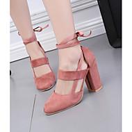 baratos Sapatos Femininos-Mulheres Sapatos Couro Ecológico Verão Conforto Sandálias Salto Robusto Azul / Rosa claro / Vinho / Com Laço