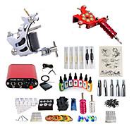 billiga Tatuering och body art-Tattoo Machine Startkit - 2 pcs Tatueringsmaskiner med 7 x 15 ml tatueringsfärger, Professionell, Kits Mini strömförsörjning No case 2 x legering tatuering maskin för lining och skuggning