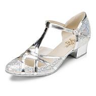 billige Moderne sko-Dame Moderne sko Glimtende Glitter Høye hæler Paljett Kubansk hæl Dansesko Gull / Sølv / Trening