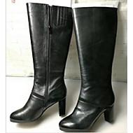 baratos Sapatos Femininos-Mulheres Sapatos Couro Inverno Conforto Botas Salto Robusto Preto