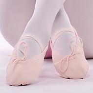 billige Ballettsko-Dame Ballettsko Lerret Flate Kubansk hæl Dansesko Hvit / Svart / Naken / Ytelse / Trening
