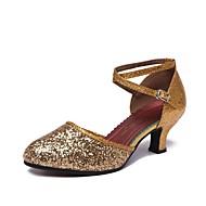 billige Kustomiserte dansesko-Dame Moderne sko Glimtende Glitter Høye hæler Kustomisert hæl Kan spesialtilpasses Dansesko Sølv / Rød / Rosa / Ytelse