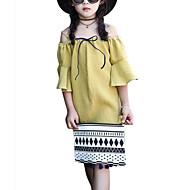 子供 女の子 ソリッド 七分袖 ドレス