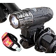 זול -פנס קדמי לאופניים LED רכיבת אופניים נייד / עמיד במים Li-ion 300lm Lumens לבן רכיבה על אופניים