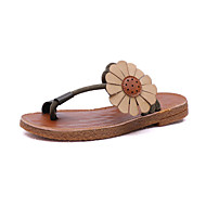 baratos Sapatos Femininos-Mulheres Sapatos Couro Ecológico Verão Conforto Chinelos e flip-flops Caminhada Sem Salto Dedo Aberto Rendado Preto / Marron / Verde
