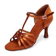 billige Sko til latindans-Dame Sko til latindans Silke Høye hæler Slim High Heel Dansesko Gull / Ytelse / Lær / Trening
