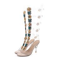 baratos Sapatos Femininos-Mulheres Sapatos PVC Verão Inovador / Botas da Moda Sandálias Salto Agulha Dedo Aberto Pedrarias / Presilha Claro / Festas & Noite