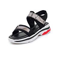 お買い得  レディースサンダル-女性用 靴 キャンバス 春 夏 コンフォートシューズ サンダル ローヒール オープントゥ ベックル のために カジュアル アウトドア ホワイト ブラック ピンク