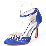 baratos Sapatos Femininos-Mulheres Sapatos Cetim Primavera Verão Plataforma Básica Sapatos De Casamento Salto Agulha Dedo Apontado Pedrarias / Miçangas / Pérolas