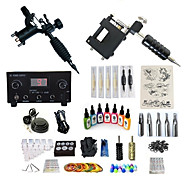 billige Tatoveringssett for nybegynnere-Tattoo Machine Startkit - 2 pcs tattoo maskiner med 7 x 15 ml tatovering blekk, Profesjonell, Sæt LED strømforsyning No case 2 x roterende tatoveringsmaskin til lining og skyggelegging