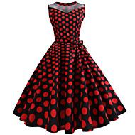 女性用 お出かけ ヴィンテージ コットン スリム スウィング ドレス - プリント, 水玉 / 波点 膝丈