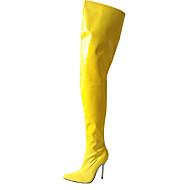 baratos Sapatos Femininos-Mulheres Sapatos Couro Ecológico Inverno Botas da Moda Botas Salto Agulha Dedo Apontado Botas Acima do Joelho Vermelho / Azul / Rosa claro
