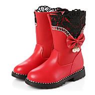 baratos Sapatos de Menina-Para Meninas Sapatos Couro Ecológico Inverno Conforto / Botas da Moda Botas para Preto / Vermelho / Rosa claro / Botas Curtas / Ankle