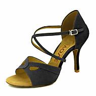 baratos Sapatilhas de Dança-Mulheres Sapatos de Dança Latina / Sapatos de Salsa Veludo Sandália / Salto Presilha / Cadarço de Borracha Salto Personalizado Personalizável Sapatos de Dança Preto / Amarelo / Vermelho / Espetáculo