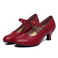 Női Modern cipők Bőr Magassarkúk Személyre szabott sarok Személyre szabható Dance Shoes Fekete / Sötétvörös / Otthoni / Teljesítmény