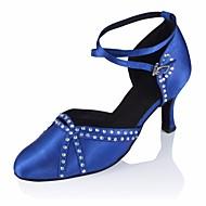billige Moderne sko-Dame Moderne sko Silke Høye hæler Stiletthæl Dansesko Svart / Blå / Ytelse / Trening