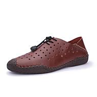 baratos Sapatos Masculinos-Homens Pele Napa / Pele Verão Conforto Mocassins e Slip-Ons Ciclismo / Caminhada Preto / Castanho Claro / Castanho Escuro