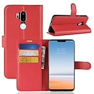 billiga Mobil cases & Skärmskydd-fodral Till LG K10 2018 / G7 Plånbok / Korthållare / Lucka Fodral Enfärgad Hårt PU läder för LG X venture / LG V30 / LG V20