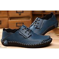 baratos Sapatos Masculinos-Homens Pele Verão Conforto / Sapatos de mergulho Sapatos de Barco Azul Escuro / Castanho Claro / Castanho Escuro