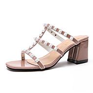 baratos Sapatos Femininos-Mulheres Sapatos Couro Ecológico Verão Chanel Sandálias Caminhada Salto de bloco Dedo Aberto Preto / Vermelho / Rosa claro