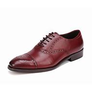 baratos Sapatos Masculinos-Homens Sapatos formais Pele Napa / Pele Outono Oxfords Preto / Vinho
