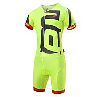 cheap Winter Sports-Malciklo Men's Triathlon Tri Suit - White / Black / Green / Yellow Bike Clothing Suit Quick Dry Anatomic Design Ultraviolet Resistant Reflective Strips Sports Spandex Solid Color Triathlon Clothing