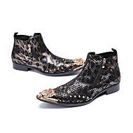 tanie Obuwie męskie-Męskie Nowoczesne buty Skóra nappa Jesień Botki Kozaki do połowy łydki Czarny / Złoty