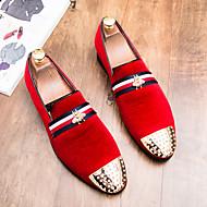 tanie Obuwie męskie-Męskie formalne Buty Zamsz Jesień W stylu brytyjskim Mokasyny i buty wsuwane Czarny / Czerwony